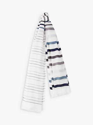 Paul Smith Sheen Stripe Scarf, White/Blue