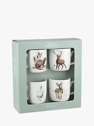 Royal Worcester Wrendale Christmas Animal Mugs, 310ml, Set of 4, Assorted