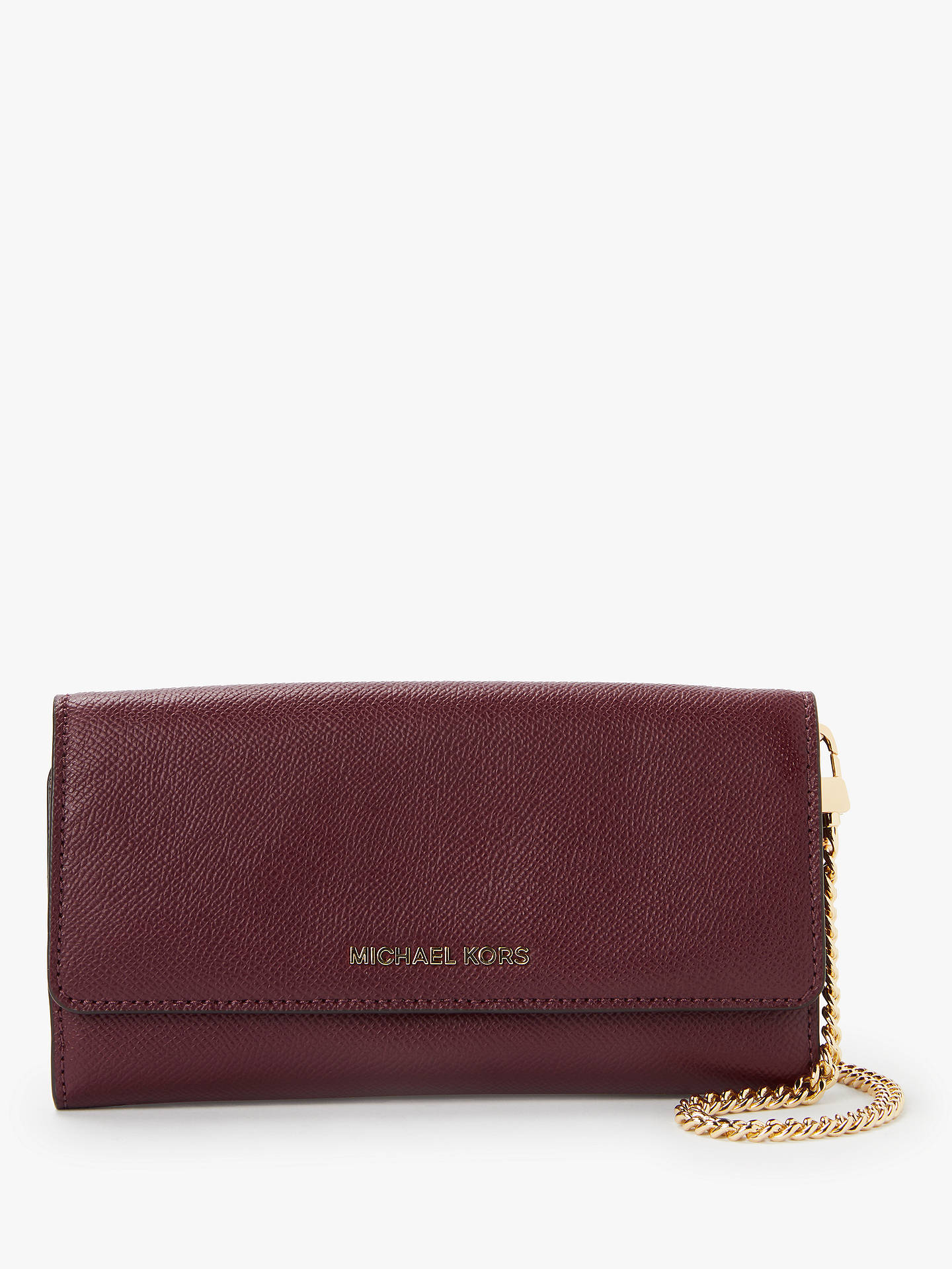 7bd022be6327dc Buy MICHAEL Michael Kors Crossbodies Leather Wallet On A Chain Clutch Bag,  Oxblood Online at ...