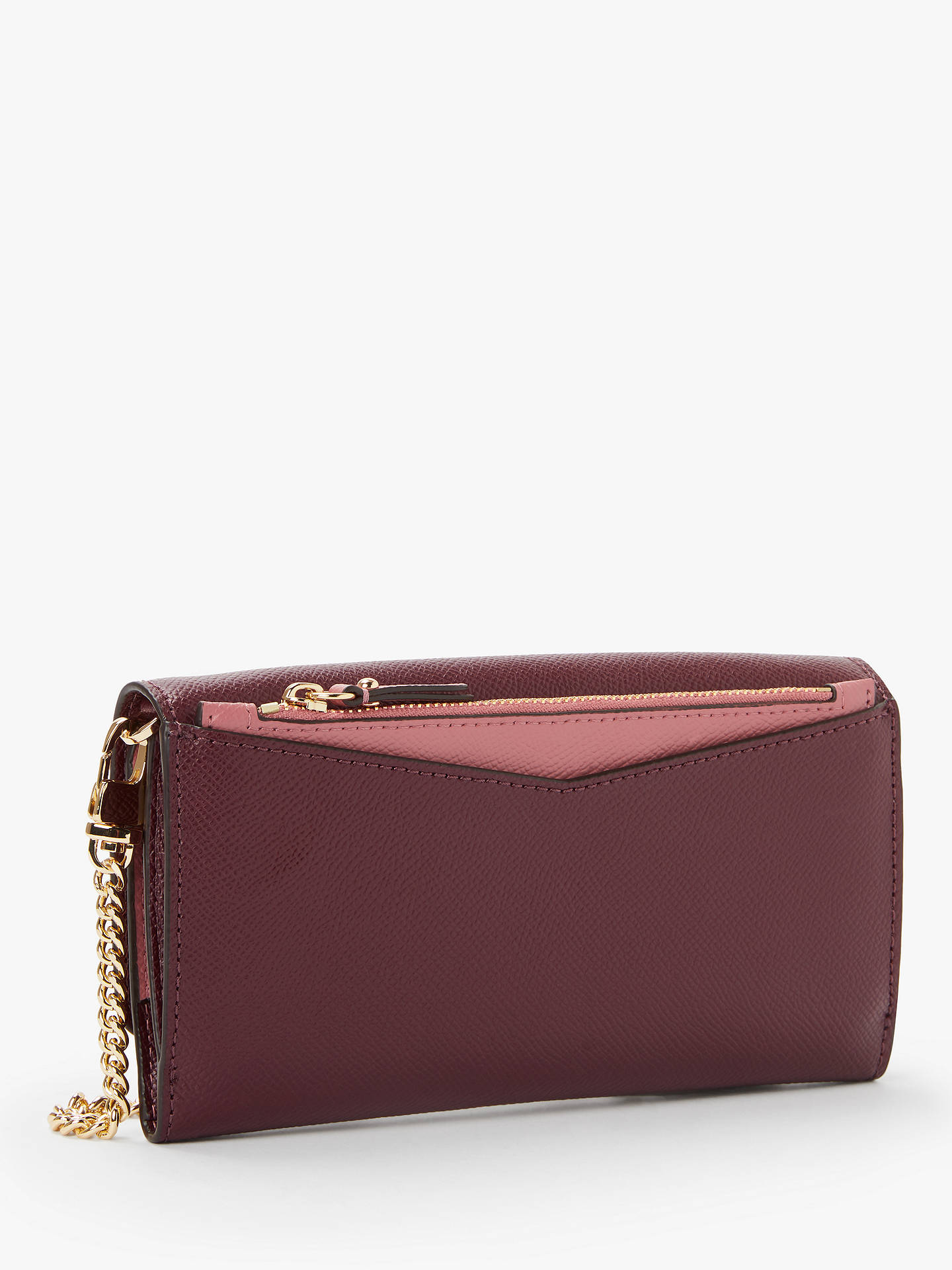 ff455b809d74d6 ... Buy MICHAEL Michael Kors Crossbodies Leather Wallet On A Chain Clutch  Bag, Oxblood Online at ...