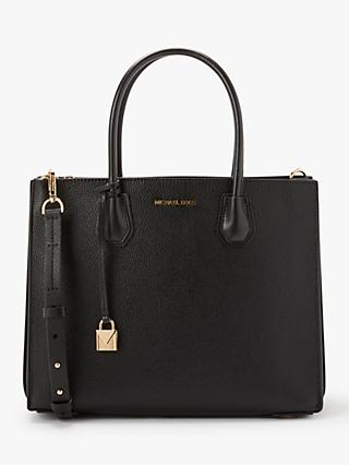 MICHAEL Michael Kors Mercer Accordion Large Leather Tote Bag, Black