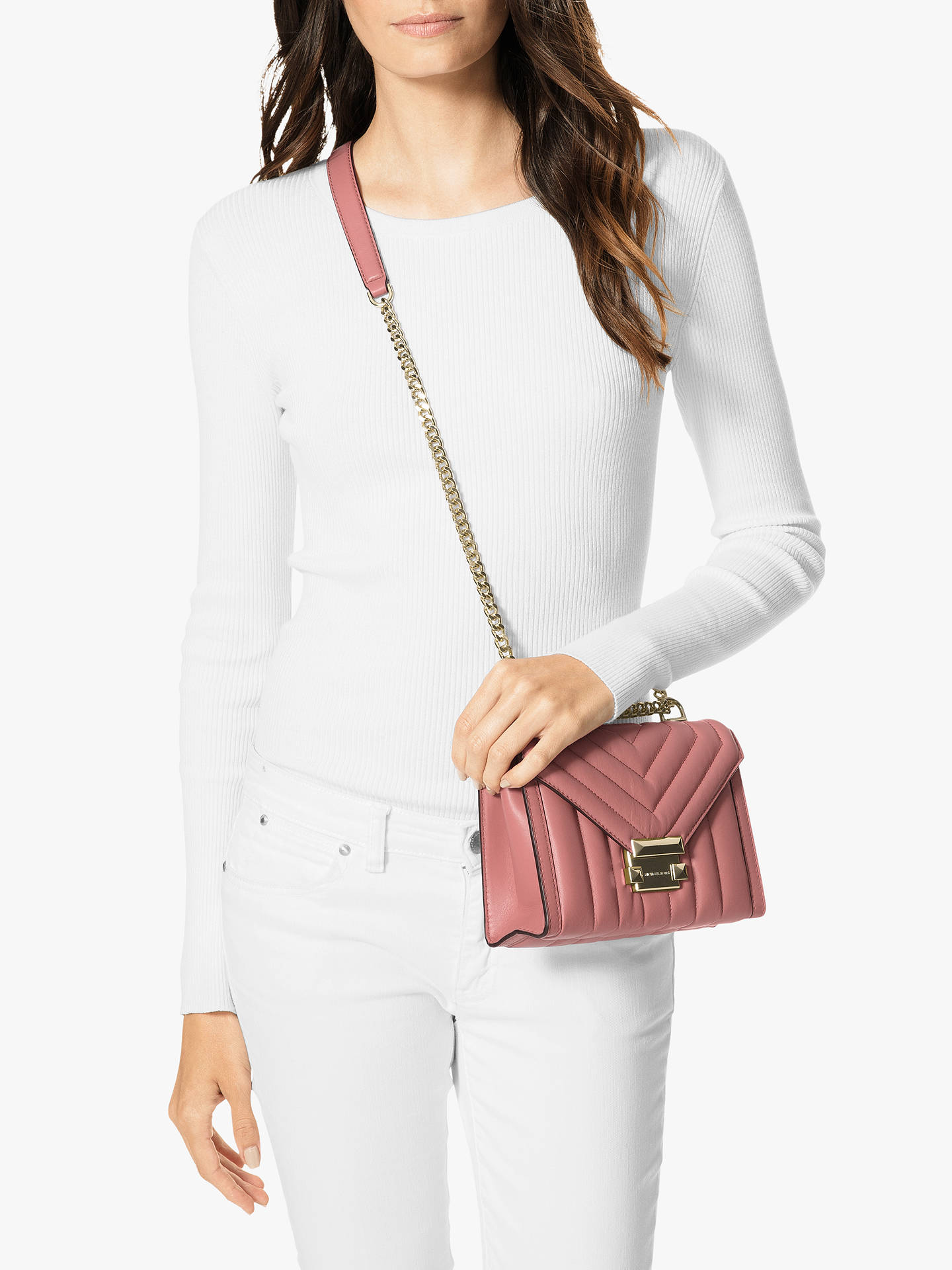 73cde0304af3 Buy MICHAEL Michael Kors Whitney Small Quilted Leather Shoulder Bag, Rose  Online at johnlewis.