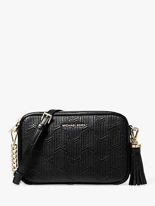 Michael Kors Crossbos Patterned Leather Camera Bag Black