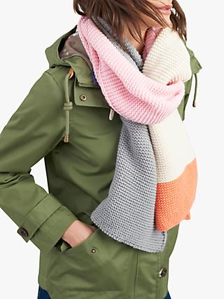 Joules Annis Colour Block Knitted Scarf, Orange/Multi