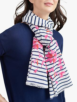 89c93d9ac Joules Flora Stripe and Floral Embroidery Cotton Scarf, Cream/Multi