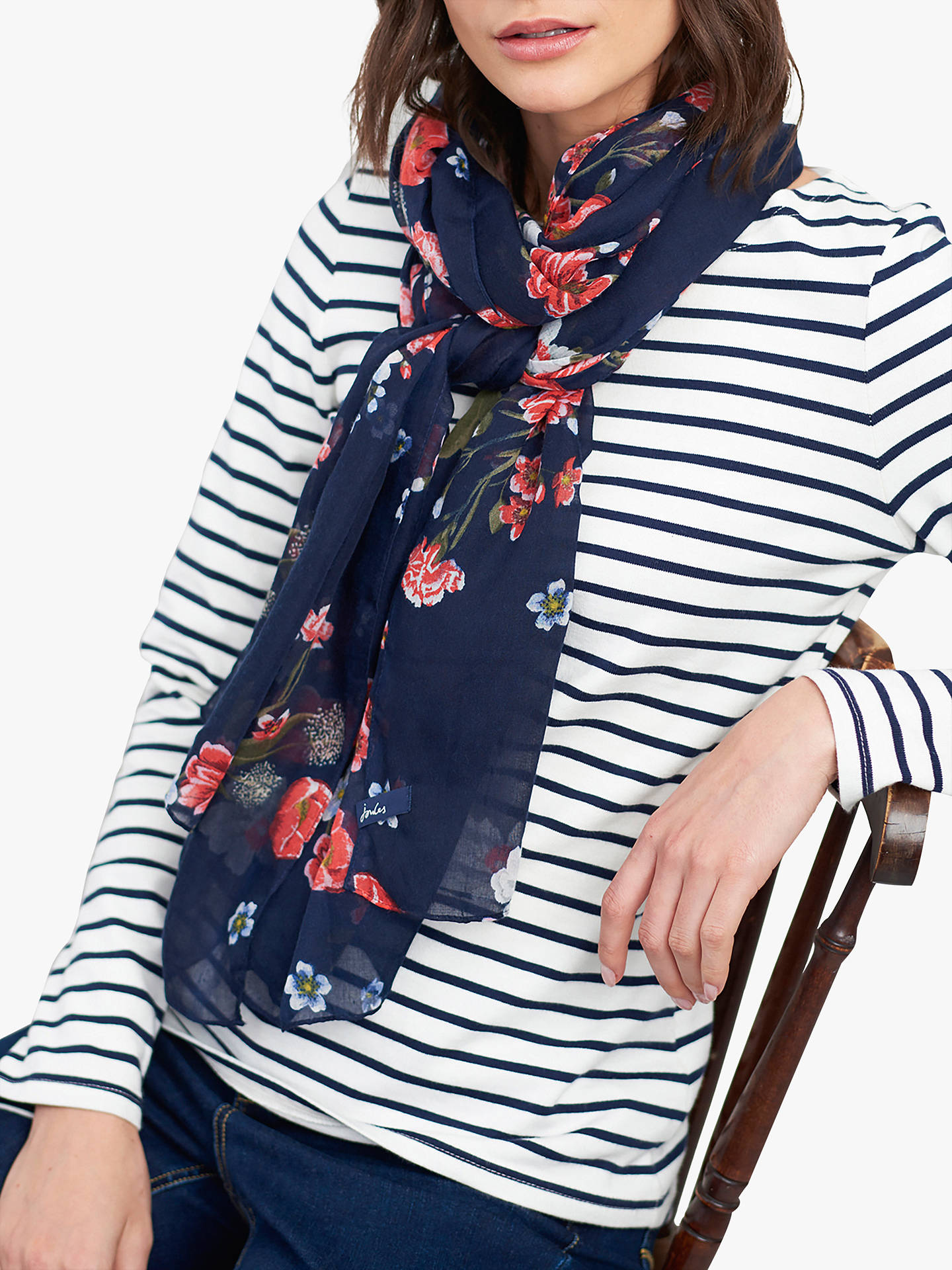 BuyJoules Wensley Floral Print Scarf, Navy Online at johnlewis.com
