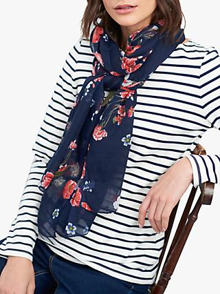 Joules Wensley Floral Print Scarf, Navy