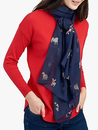 Joules Wensley Dog Print Scarf, Navy