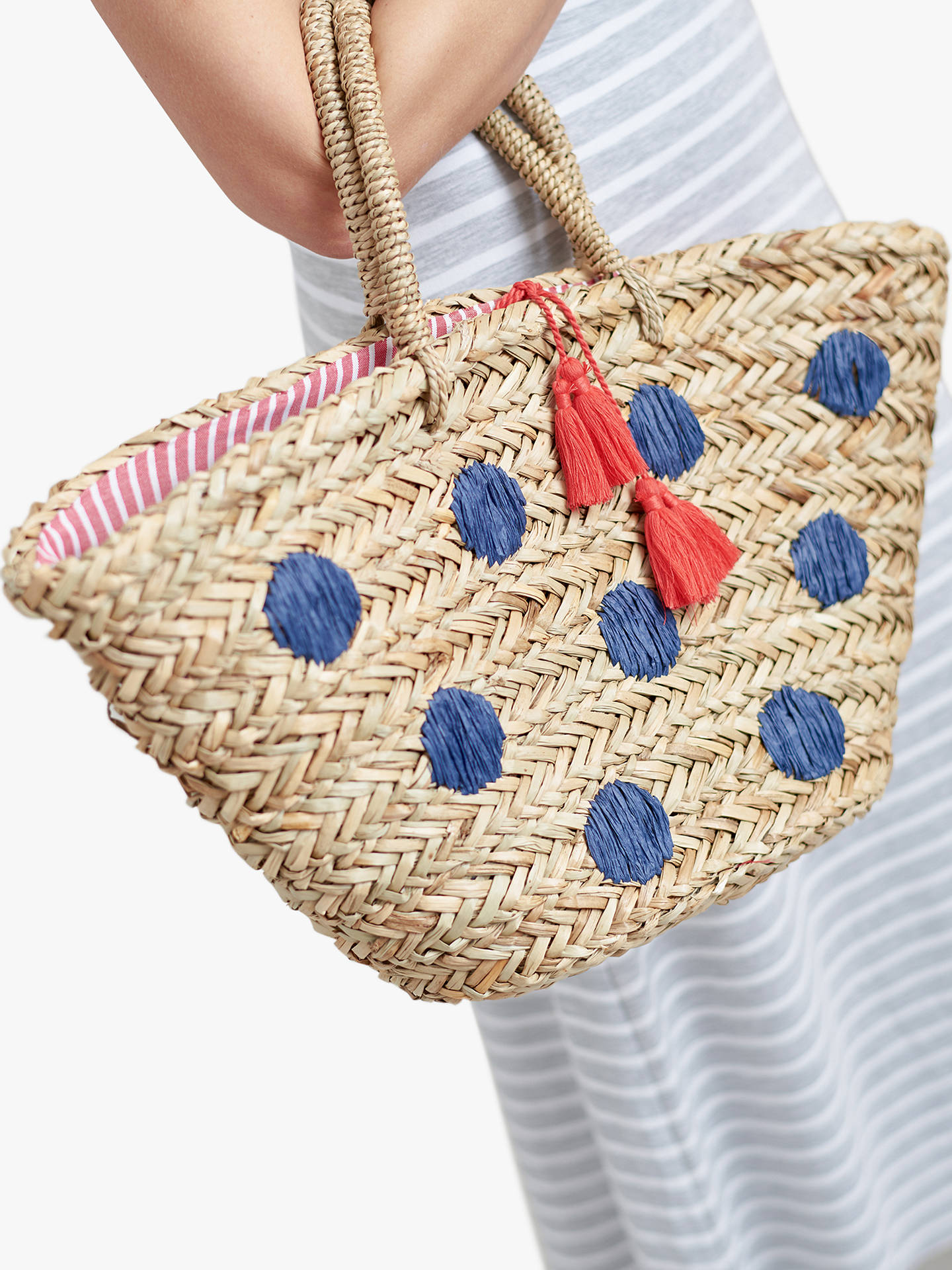 8f1236ad Joules Amalfi Straw Spot Tote Bag, Natural/Bright Blue