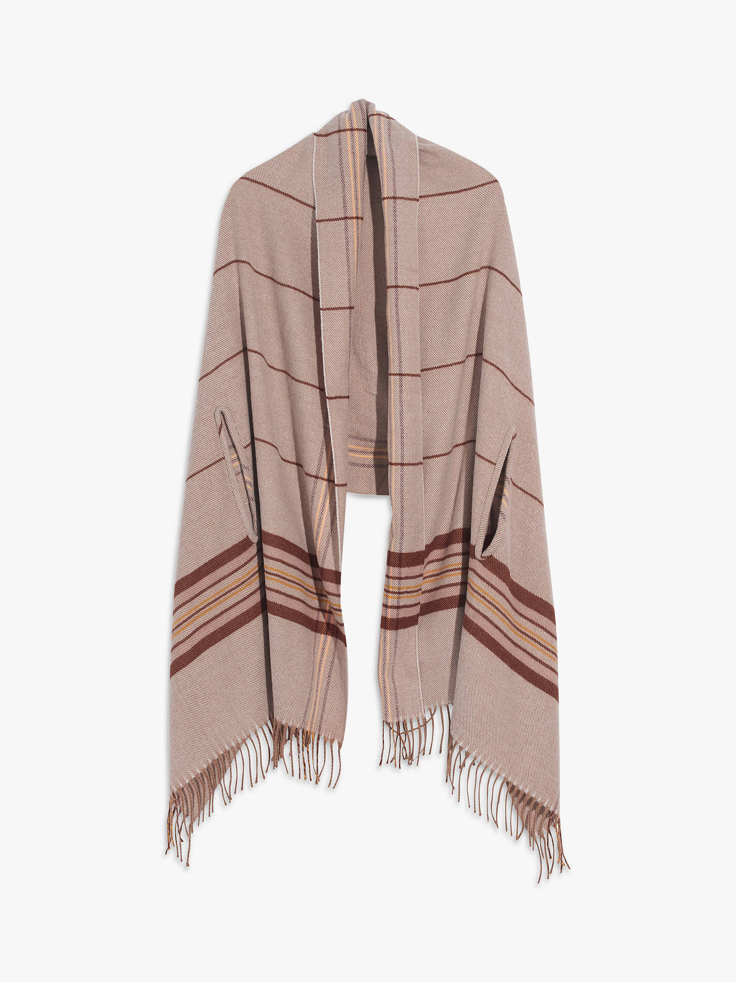 Madewell Placed Plaid Stripe Cape, Dark Camel/Multi