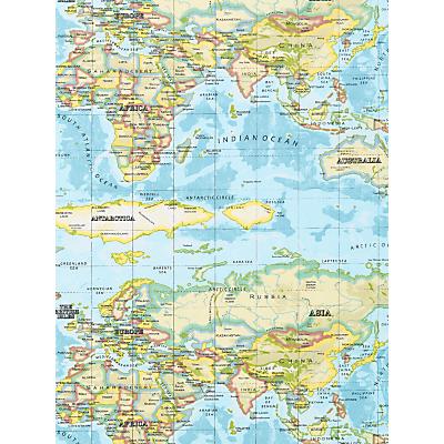Prestigious Textiles World Maps PVC Tablecloth Fabric, Azure