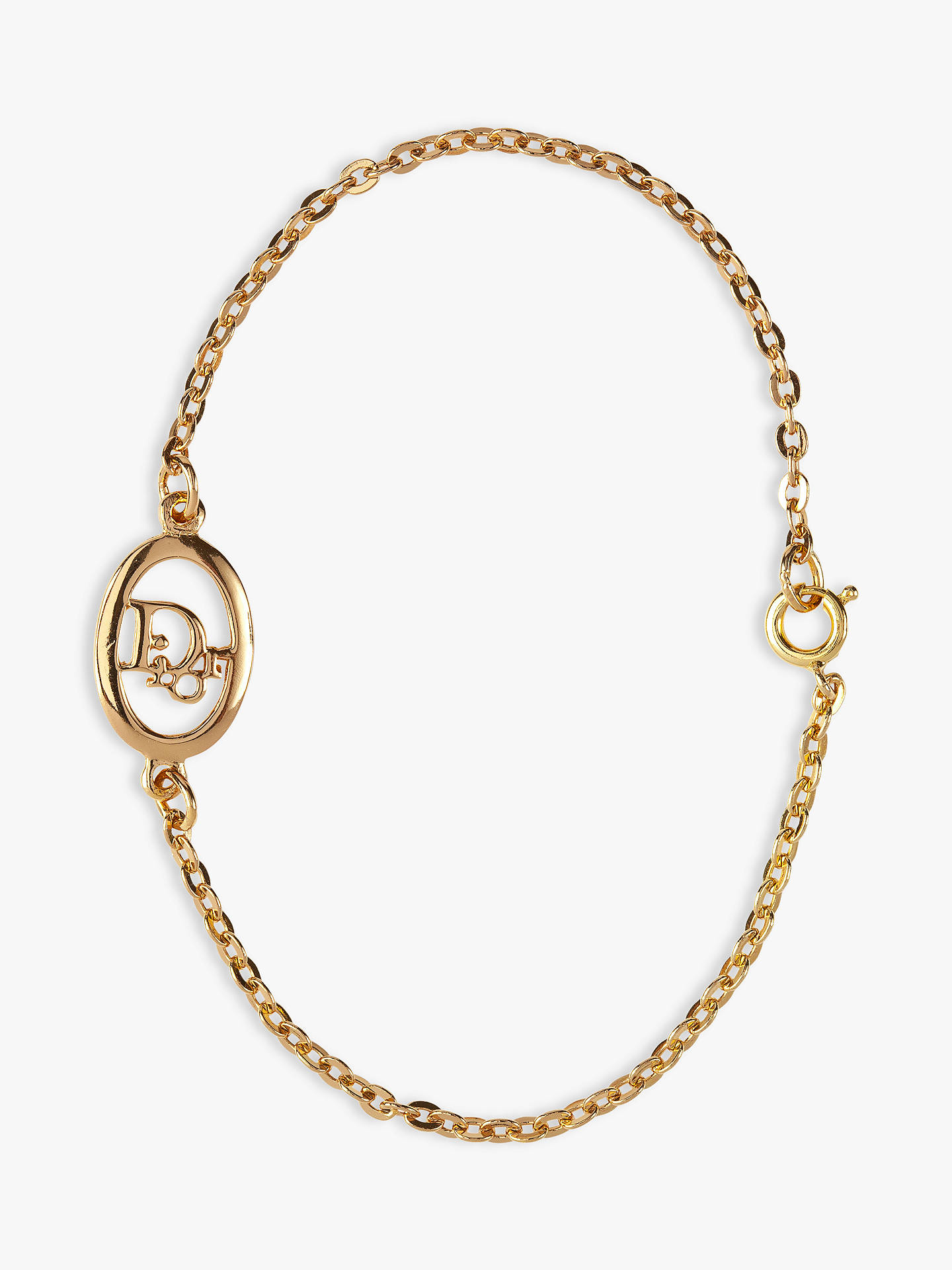 acb3418e856f64 Buy Susan Caplan Vintage Christian Dior 22ct Gold Plated Oval Logo Chain  Bracelet, Gold Online ...