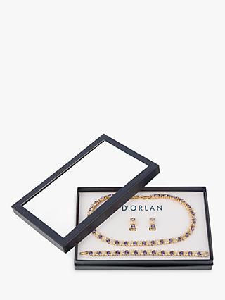 Susan Caplan Vintage D'Orlan 22ct Gold Plated Swarovski Crystal Collar Necklace, Bracelet and Clip-On Earrings, Gold/Multi
