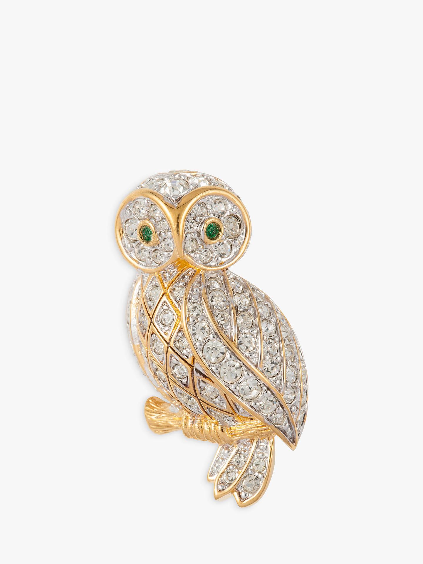 a7a7e327cd2 Buy Susan Caplan Vintage D'Orlan 22ct Gold Plated Swarovski Crystal Owl  Brooch, Gold ...
