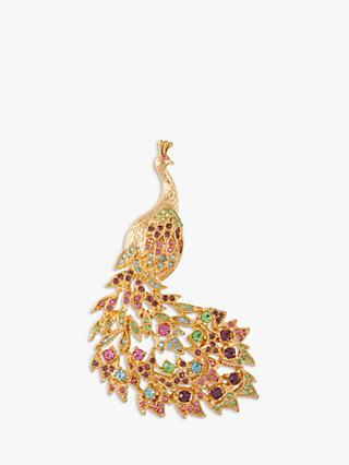 Susan Caplan Vintage D'Orlan 22ct Gold Plated Swarovski Crystal Peacock Brooch, Gold/Multi