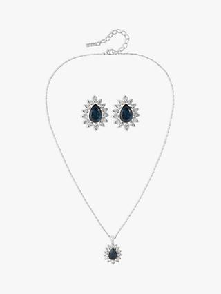 Susan Caplan Vintage D'Orlan Silver Plated Swarovski Crystal Teardrop Pendant Necklace and Stud Earrings Jewellery Gift Set, Silver/Blue