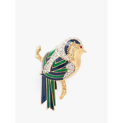 Susan Caplan Vintage D'Orlan 22ct Gold Plated Enamel and Swarovski Crystal Jay Bird Brooch, Mul