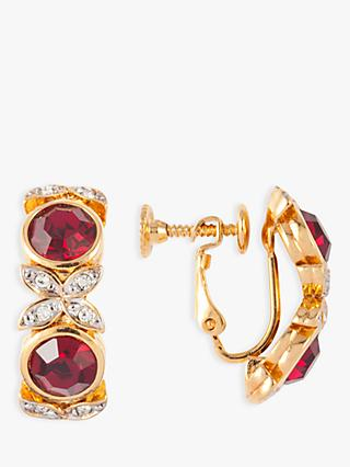 Susan Caplan Vintage D'Orlan 22ct Gold Plated Swarovski Crystal Clip-On Hoop Earrings, Gold/Multi