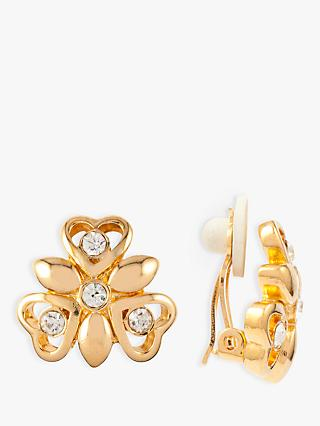 Susan Caplan Vintage Nina Ricci 22ct Gold Plated Swarovski Crystal Triple Heart Shape Clip-On Earrings, Gold