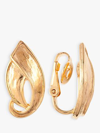 Susan Caplan Vintage D'Orlan 22ct Gold Plated Leaf Clip-On Drop Earrings, Gold