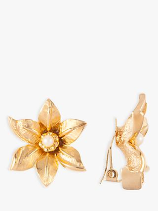 Susan Caplan Vintage Nina Ricci 22ct Gold Plated Faux Pearl Flower Clip-On Earrings, Gold
