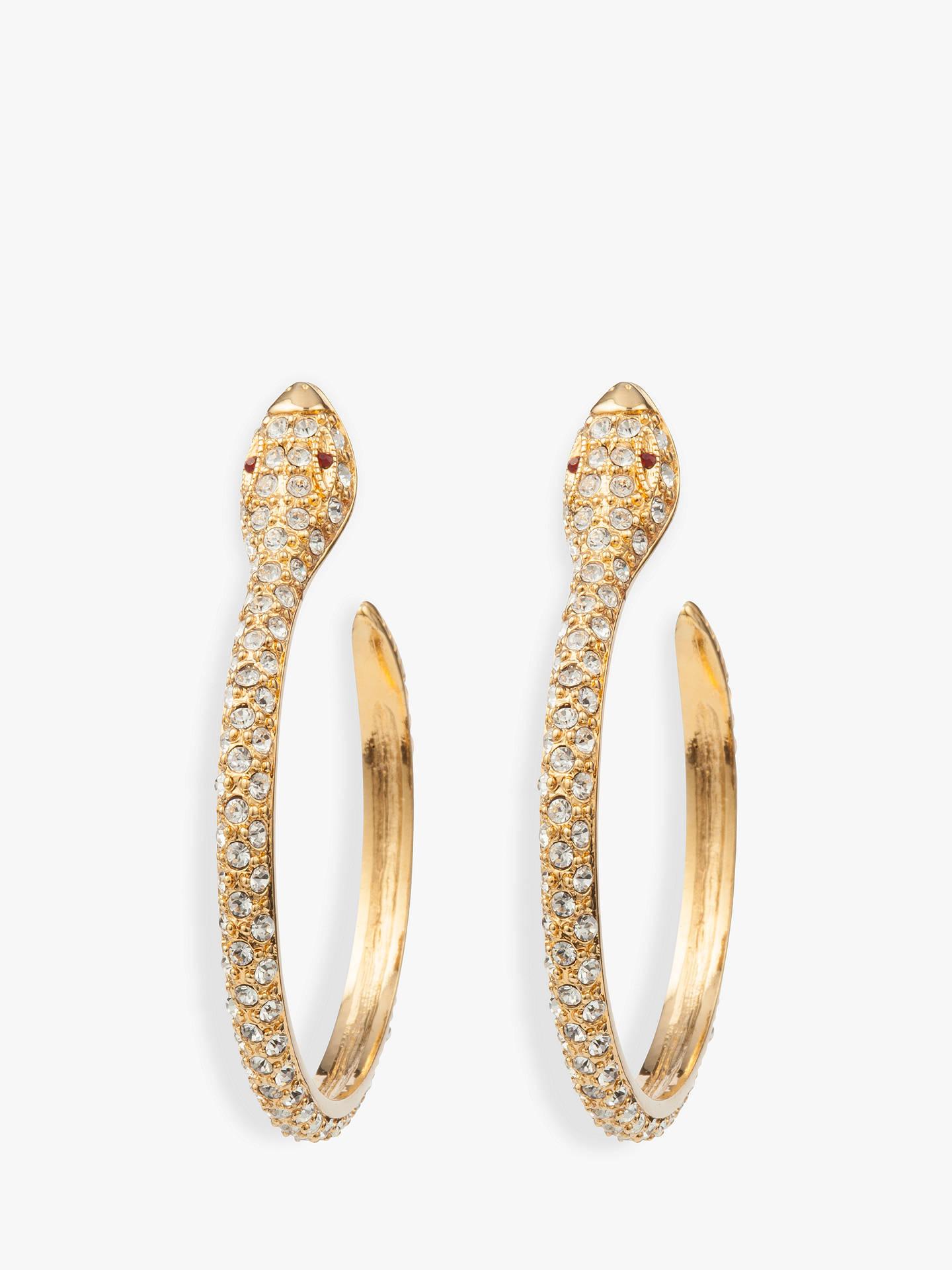 d7513e75c Buy Susan Caplan Vintage KJL 22ct Gold Plated Swarovski Crystal Snake Hoop  Earrings, Gold Online ...