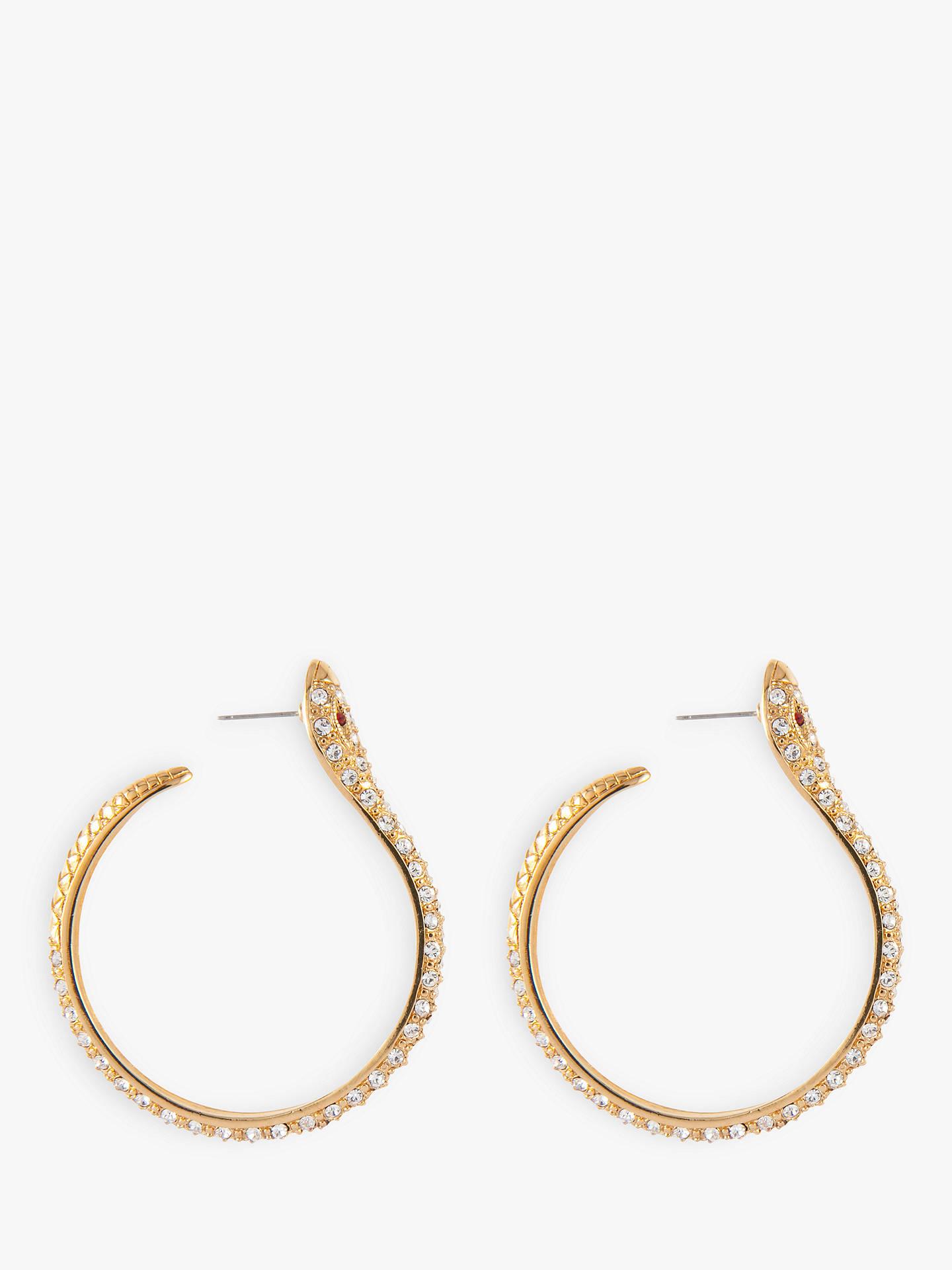 09f03c0fd ... Buy Susan Caplan Vintage KJL 22ct Gold Plated Swarovski Crystal Snake Hoop  Earrings, Gold Online