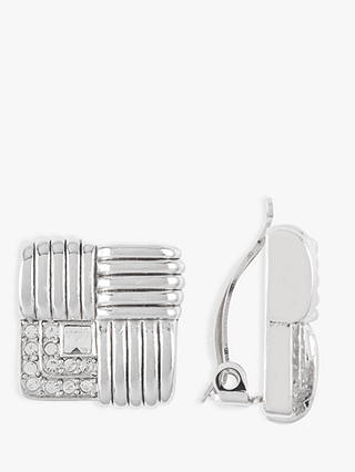 Buy Susan Caplan Vintage Nina Ricci Silver Plated Swarovski Crystal Square Clip-On Drop Earrings, Silver Online at johnlewis.com