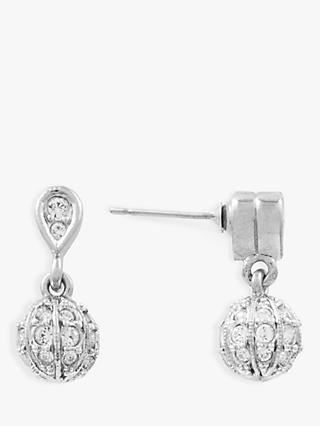 Susan Caplan Vintage D'Orlan Silver Plated Swarovski Crystal Drop Earrings, Silver