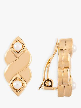Susan Caplan Vintage Nina Ricci 22ct Gold Plated Faux Pearl Twist Clip-On Earrings, Gold