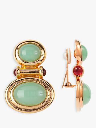 Susan Caplan Vintage Elizabeth Taylor 22ct Gold Plated Cabochon and Swarovski Crystal Clip-On Earrings, Gold/Green