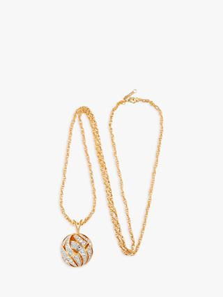 Susan Caplan Vintage D'Orlan 22ct Gold Plated Swarovski Crystal Rope Chain and Ball Pendant, Gold