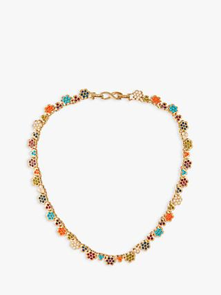 Susan Caplan Vintage D'Orlan 22ct Gold Plated Swarovski Crystal Flower Collar Necklace, Gold/Multi