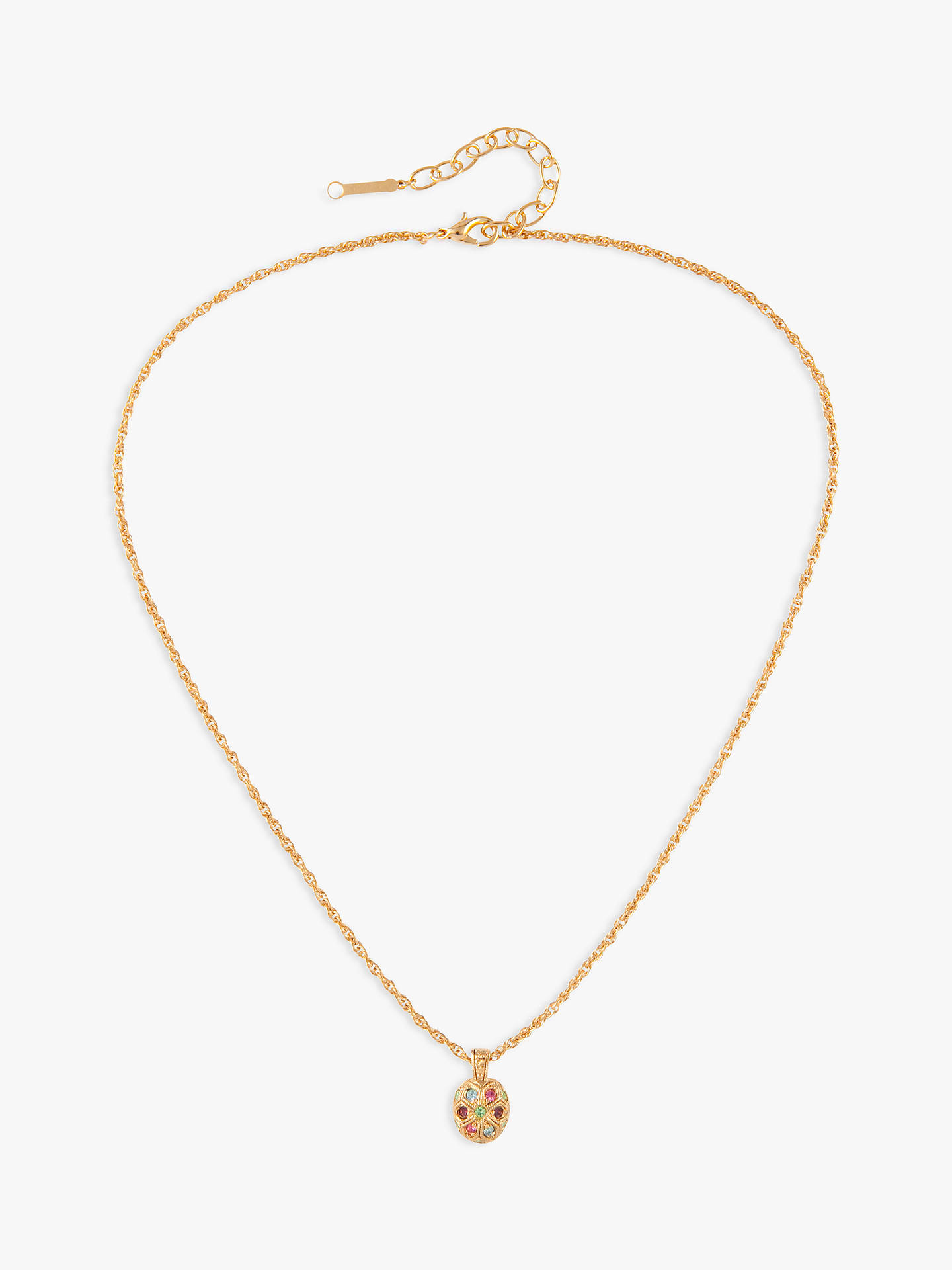 Buy Susan Caplan Vintage D'Orlan 22ct Gold Plated Swarovski Crystal Oval Pendant Necklace, Gold/Multi Online at johnlewis.com