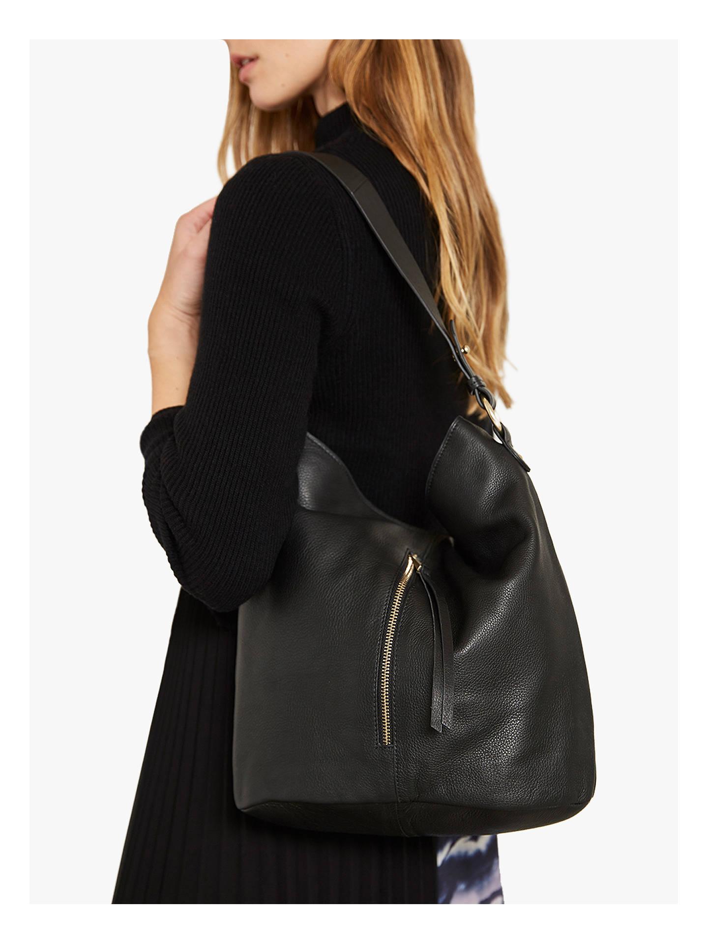 Mint Velvet Mair Leather Zip Hobo Bag at John Lewis   Partners 46a25bccbb47a