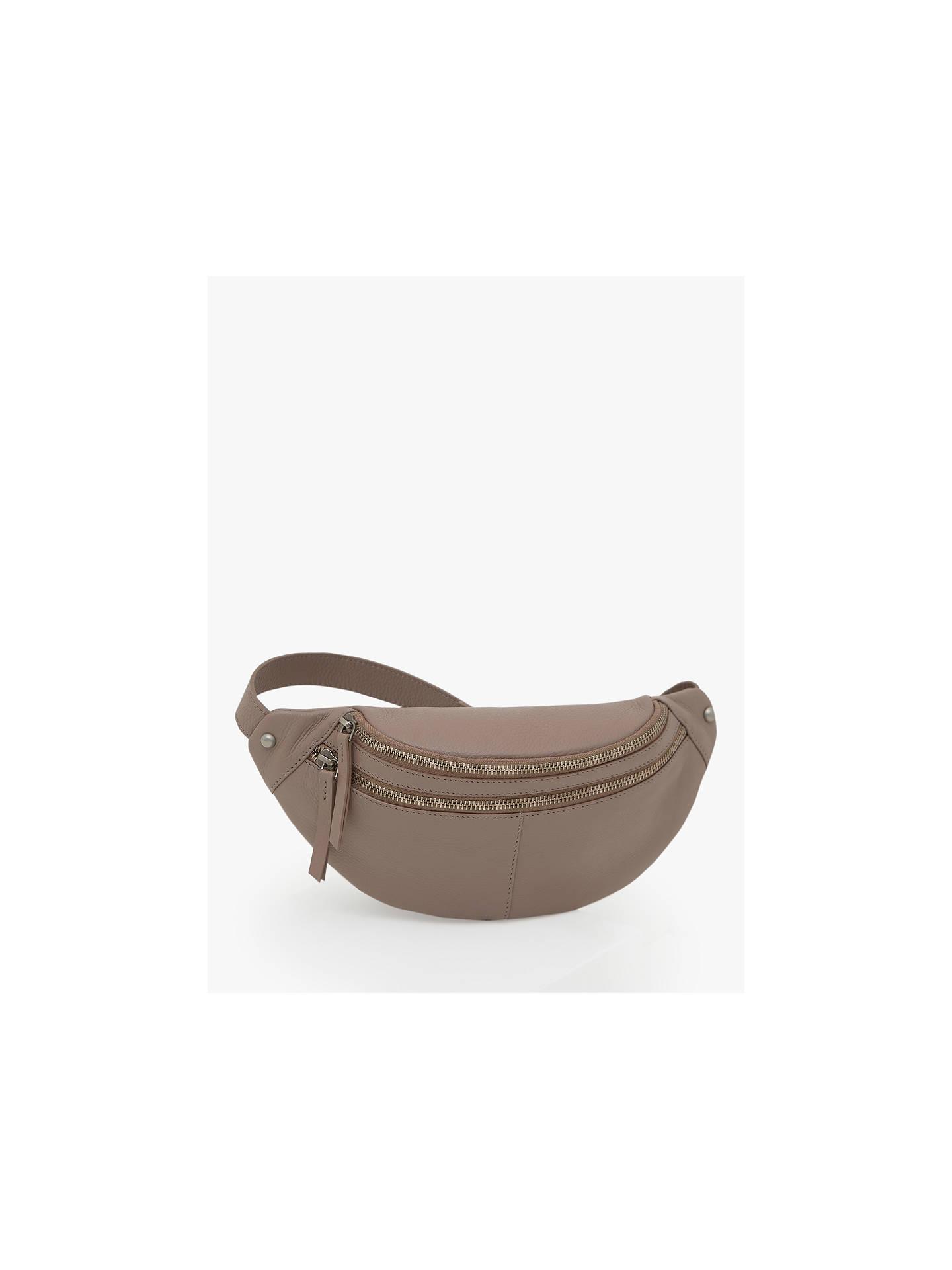 9a346a2c78 Mint Velvet Fiona Leather Double Compartment Bum Bag, Light Pink