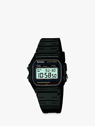 Casio W-59-1VQES-SS Men's Core Digital Chronograph Resin Strap Watch, Black/Blue