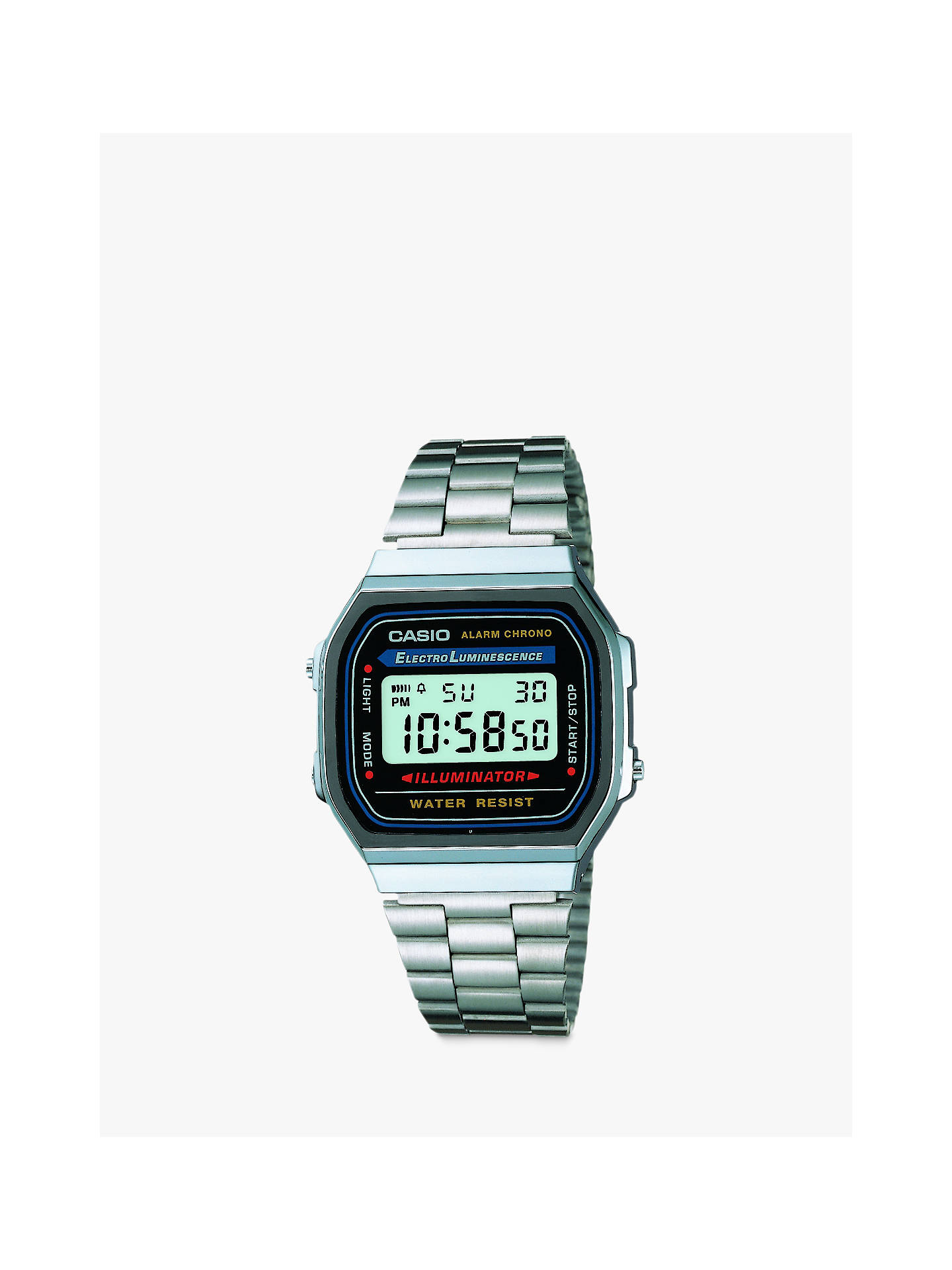 BuyCasio Unisex Core Bracelet Strap Watch, Silver/Black A168WA-1YES-SS Online at johnlewis.com