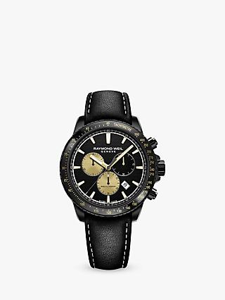 Raymond Weil 8570-BKC-MARS1 Men's Tango 300 Marshall Amplification Limited Edition Chronograph Leather Strap Watch, Black