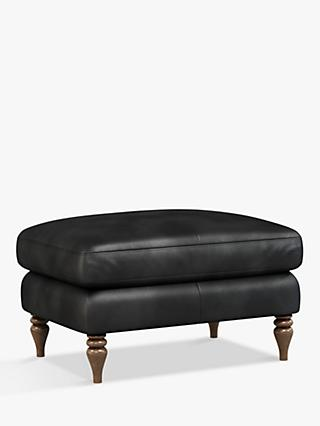 John Lewis & Partners Camber Leather Footstool, Dark Leg