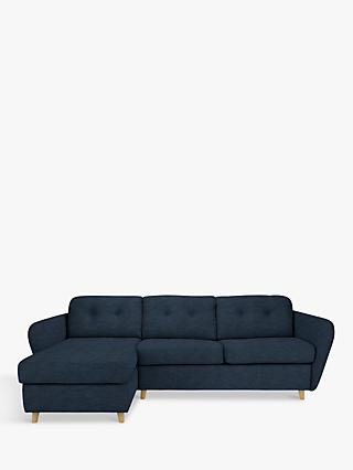 House by John Lewis Arlo LHF Chaise End Sofa Bed, Light Leg, Erin Midnight