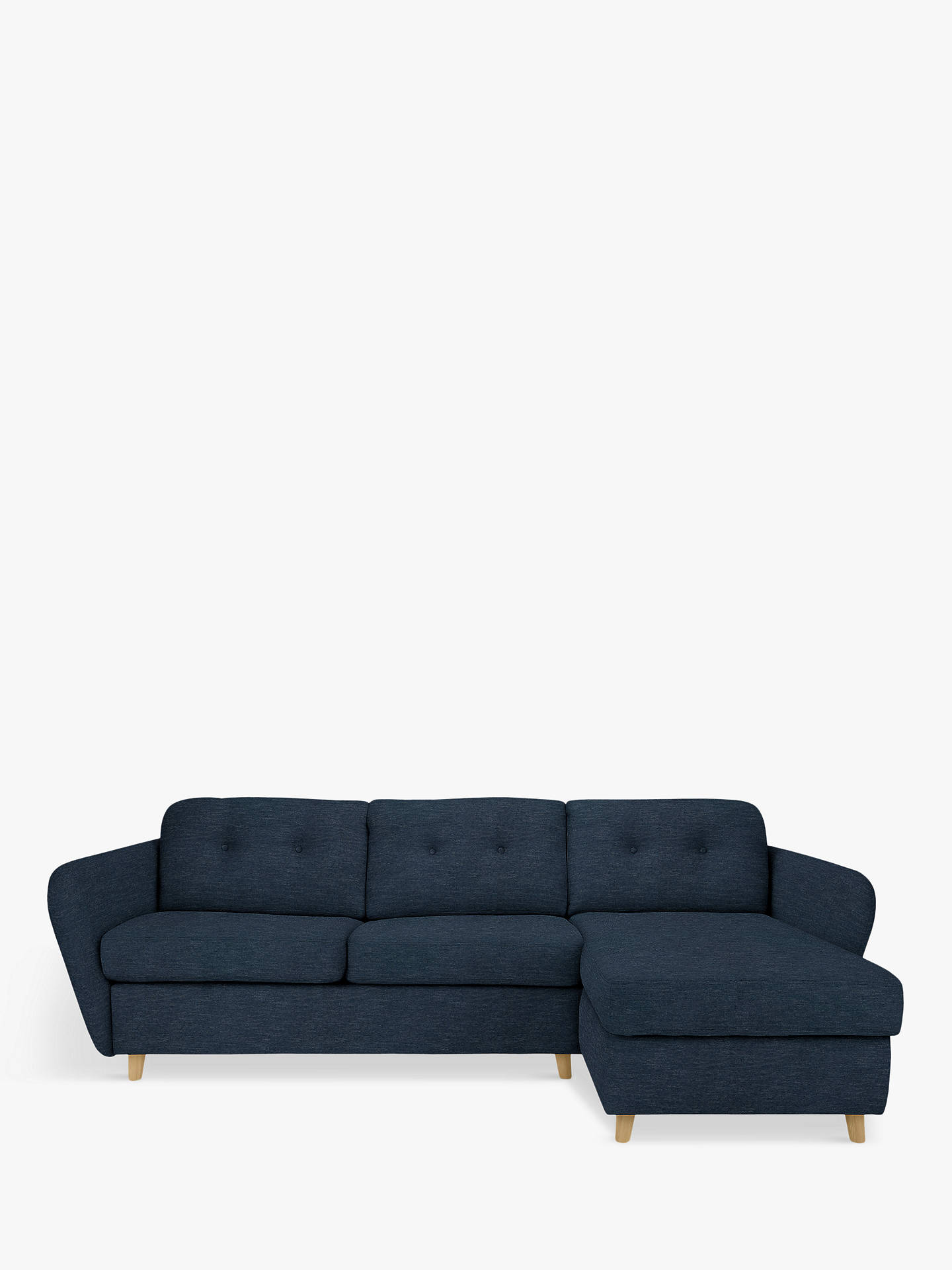 Buy House by John Lewis Arlo RHF Chaise End Sofa Bed, Light Leg, Erin Midnight Online at johnlewis.com