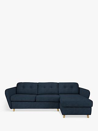 House by John Lewis Arlo RHF Chaise End Sofa Bed, Light Leg, Erin Midnight