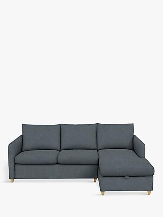 John Lewis & Partners Bailey RHF Chaise End Sofa Bed, Light Leg, Hatton Steel
