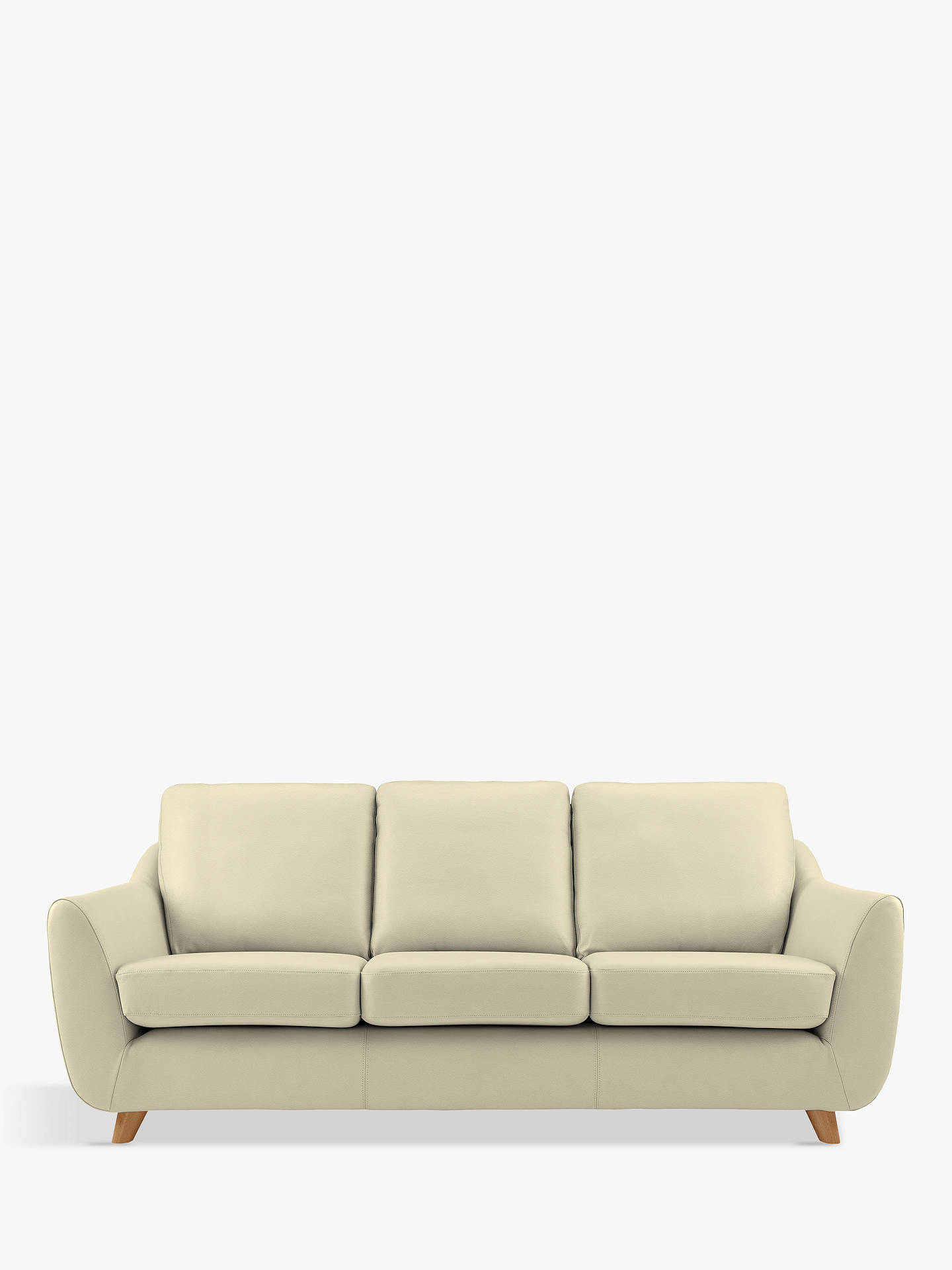 Buy G Plan Vintage The Sixty Seven Large 3 Seater Leather Sofa, Capri Chalk Online at johnlewis.com