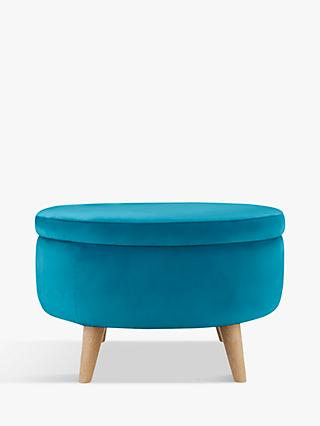 Fondue Footstool by Loaf at John Lewis, Clever Velvet Pacific