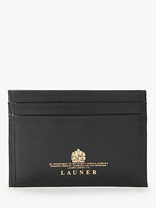 Launer Slim Leather Four Credit Card Holder, Ebony Black