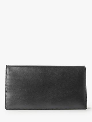 Launer Leather Credit Card and Note Breast Pocket Wallet, Ebony Black