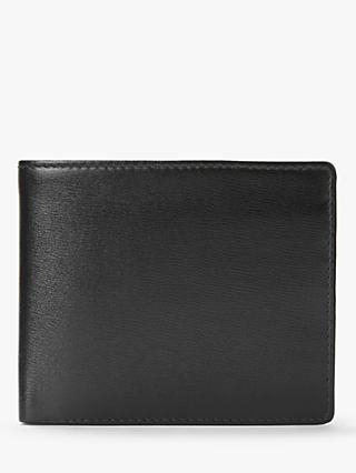 Launer Leather Four Credit Card Coin Wallet, Ebony Black