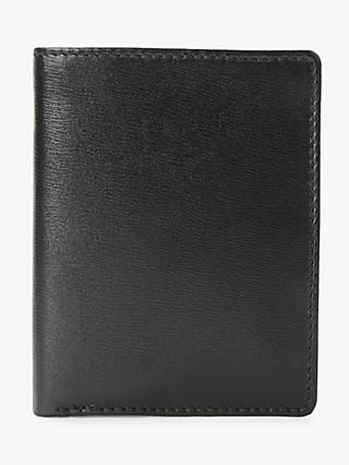 Launer Leather Six Credit Card Case, Ebony Black/Scarlet